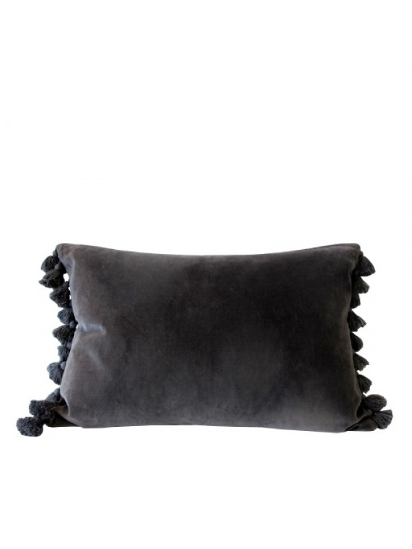 ByLiving Pude - Grey Velvet Tassel Cushion