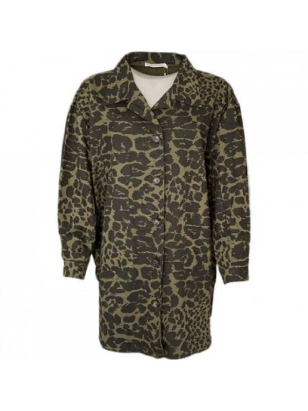 Rabens Saloner Jakke - Lillie Giant Leopard OS Jacket, Forest Green